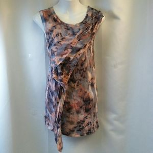 Sleeveless Knit Abstract Print Blouse, XL